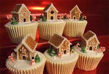 Miniature gingerbread Christmas houses cup cakes Home